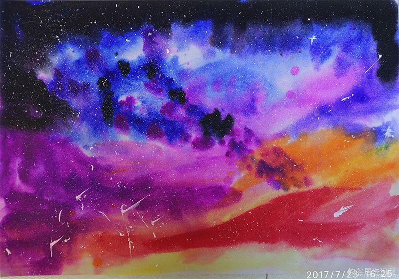 水粉画作品:星空